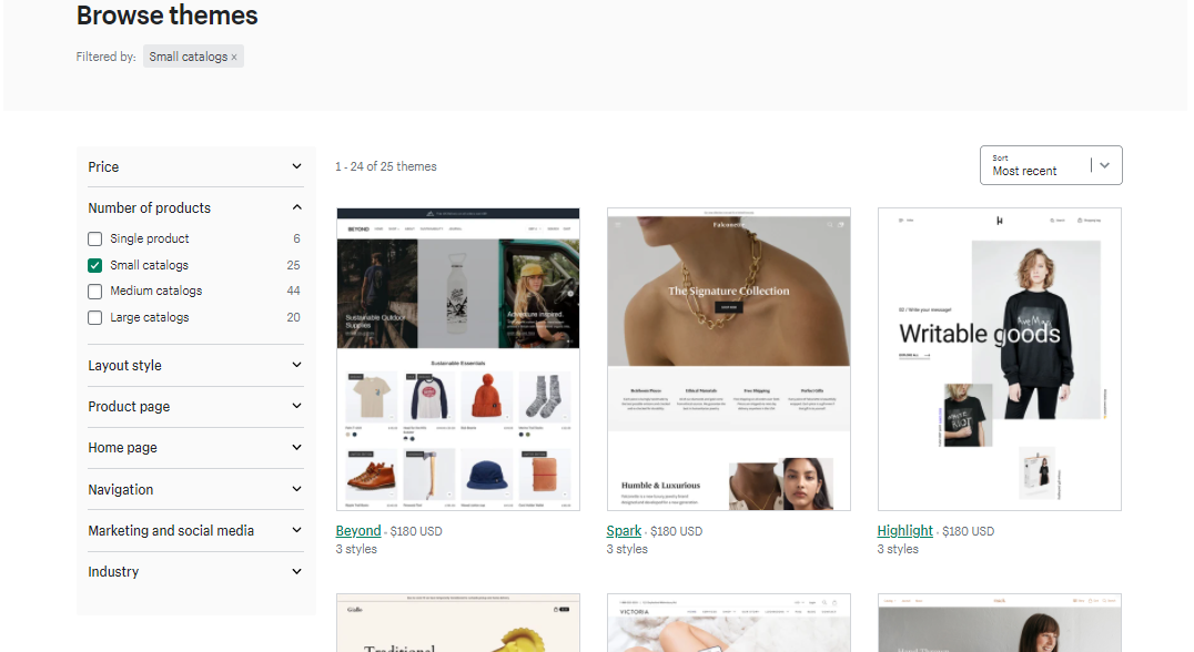 Shopify gives you the option to filter themes according to catalog size.