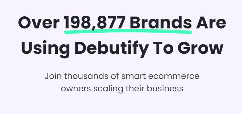 Debutify displaying the number of customers