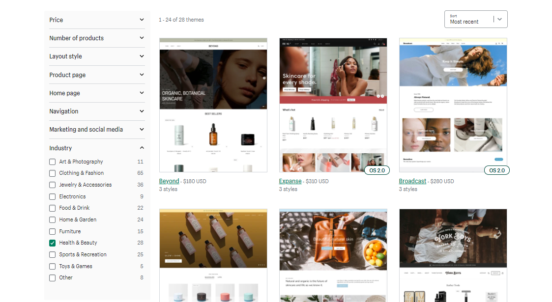 Shopify offers many themes based on the industry.